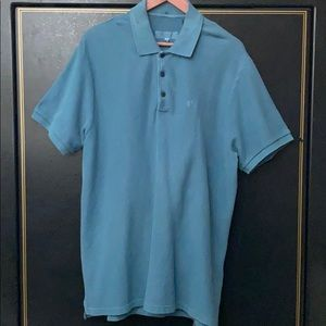 Rag & bone Blue Stone Pique Polo Shirt NWT